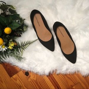 Lucky Brand Pointed Toe Black Suede Flats